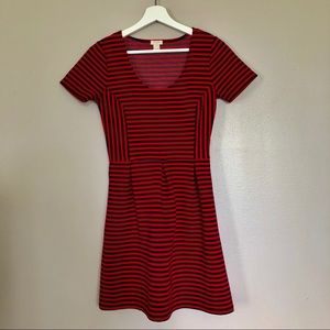 J Crew Navy and Red Striped Dress - Size 2